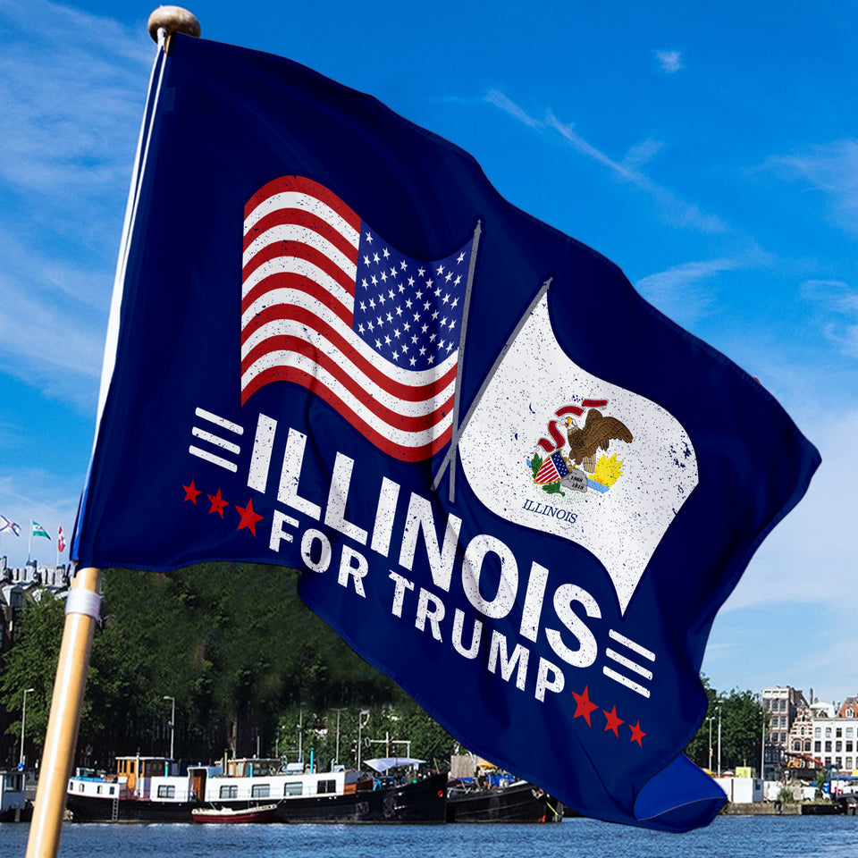 Illinois For Trump 3 x 5 Flag - Limited Edition Dual Flags
