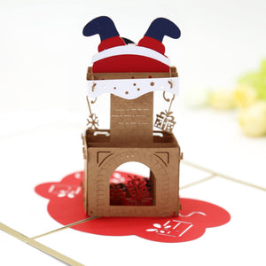 Santa's Down The Chimney Pop Up Christmas Card
