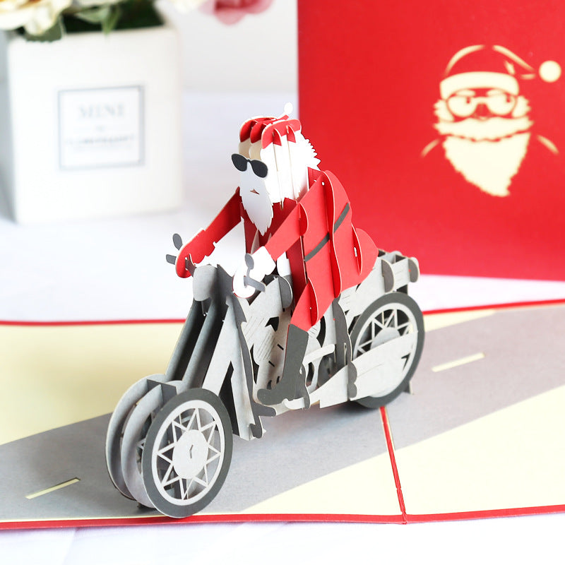 Biker Santa Pop Up Christmas Card
