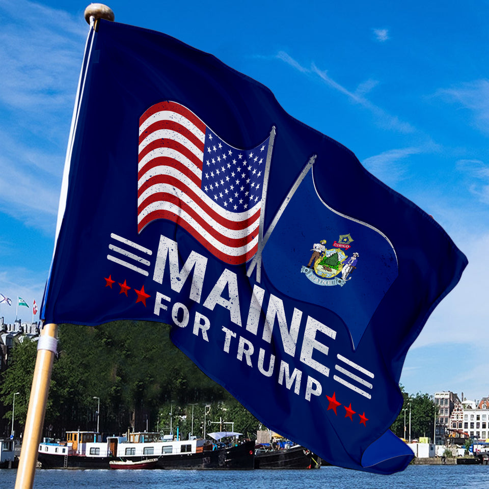 Maine For Trump 3 x 5 Flag - Limited Edition Dual Flags Sale