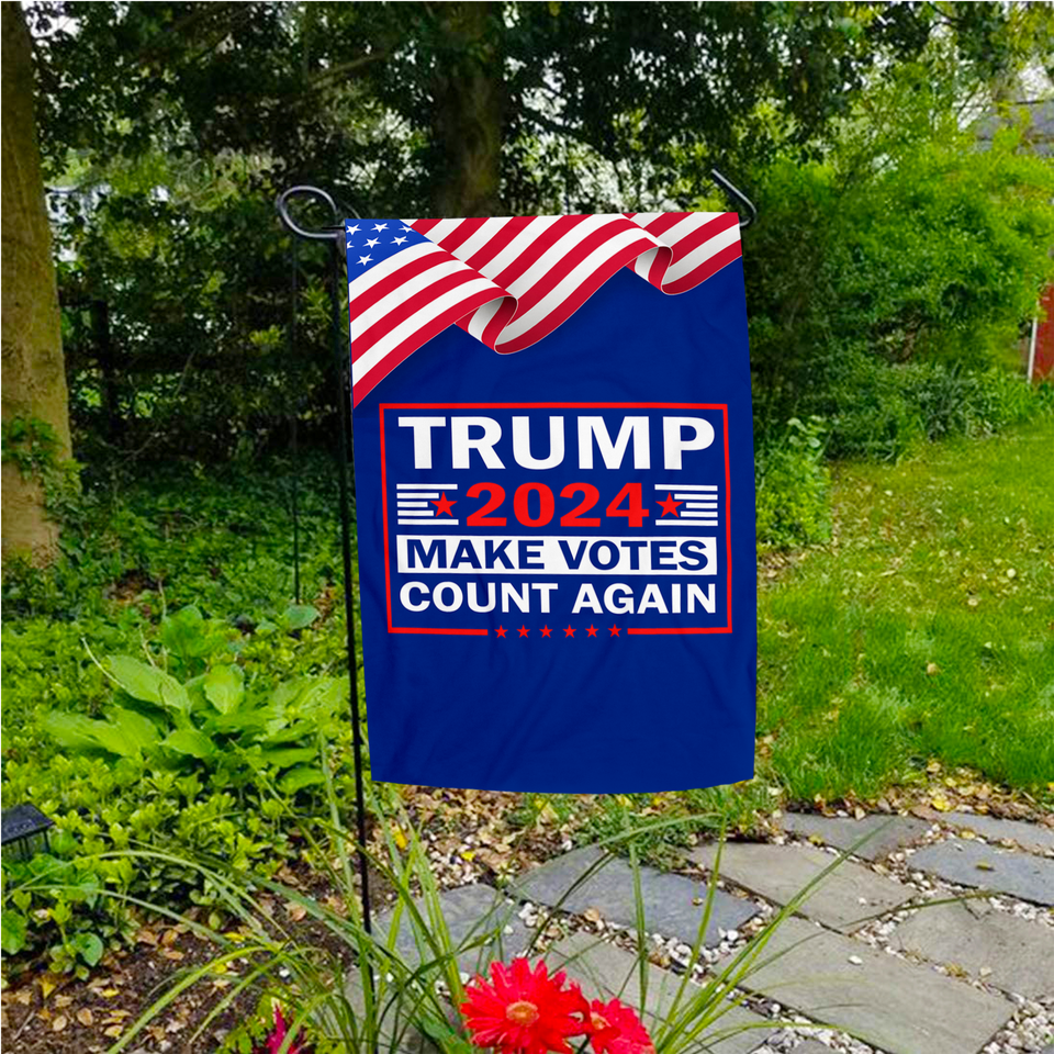 Ultimate Trump 2024 Starter Pack - Includes Make Votes Count Again 3 x 5 Flag - Garden Flag - Embroidered Hat