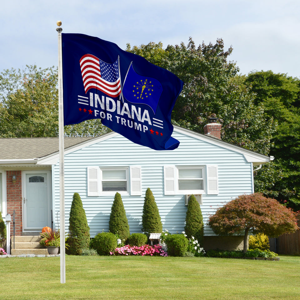 Indiana For Trump 3 x 5 Flag - Limited Edition Dual Flags Lowest Price Ever!