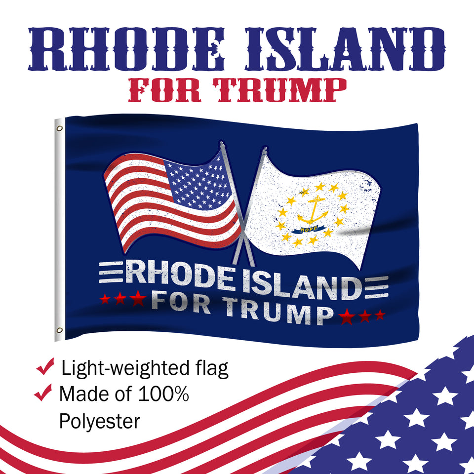 Rhode Island For Trump 3 x 5 Flag - Limited Edition Dual Flags