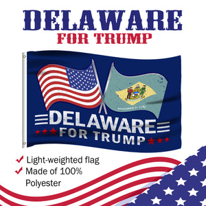 Delaware For Trump 3 x 5 Flag - Limited Edition Dual Flags Sale