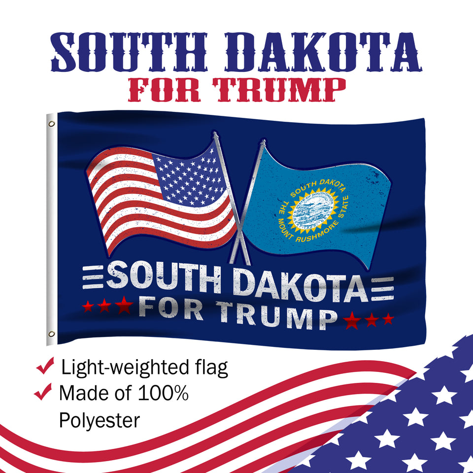 South Dakota For Trump 3 x 5 Flag - Limited Edition Dual Flags