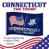Connecticut For Trump 3 x 5 Flag - Limited Edition Dual Flags Lowest Price Ever!