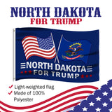 North Dakota For Trump 3 x 5 Flag - Limited Edition Dual Flags Lowest Price Ever!
