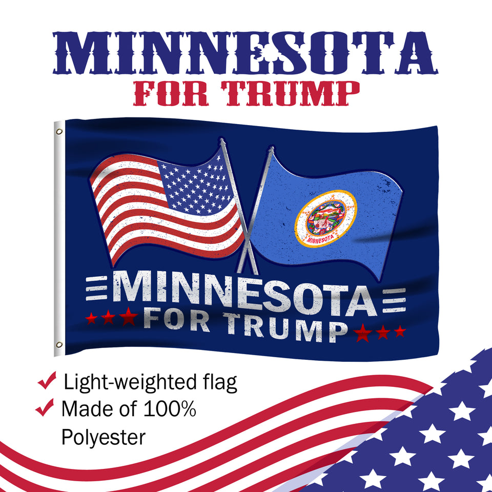 Minnesota For Trump 3 x 5 Flag - Limited Edition Dual Flags Lowest Price Ever!