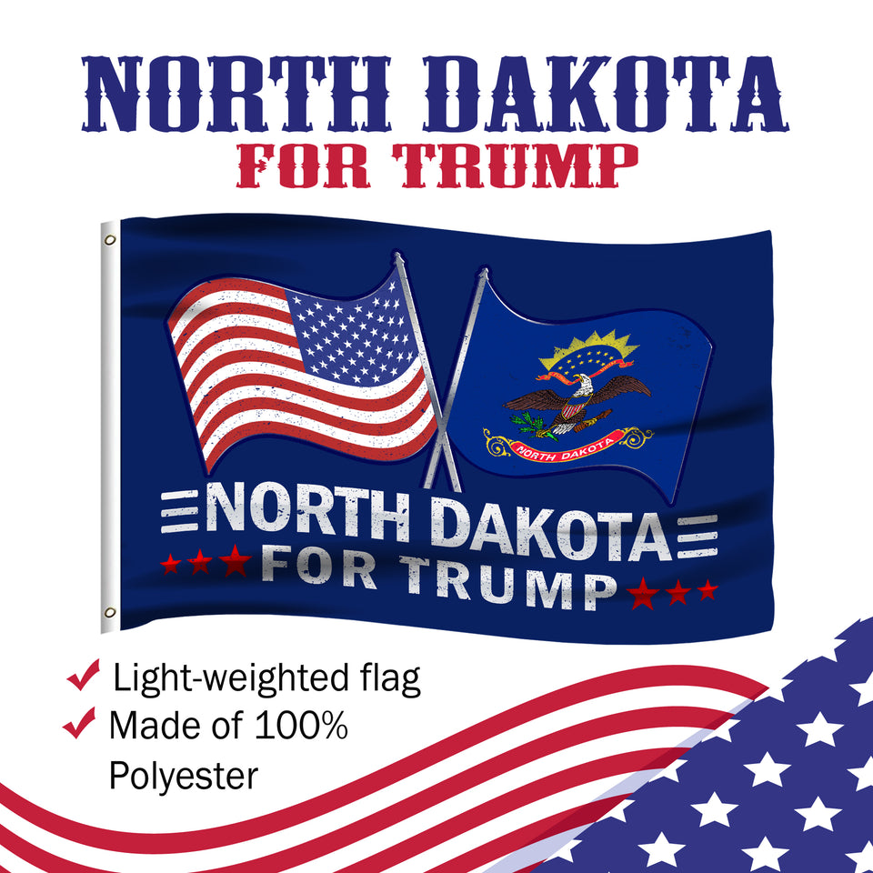 North Dakota For Trump 3 x 5 Flag - Limited Edition Dual Flags Sale