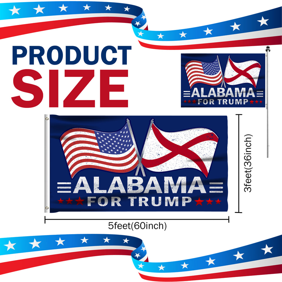 Alabama For Trump 3 x 5 Flag - Limited Edition Dual Flags Sale