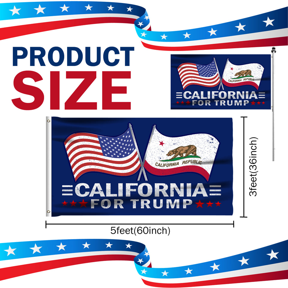 California For Trump 3 x 5 Flag - Limited Edition Dual Flags Lowest Price Ever!