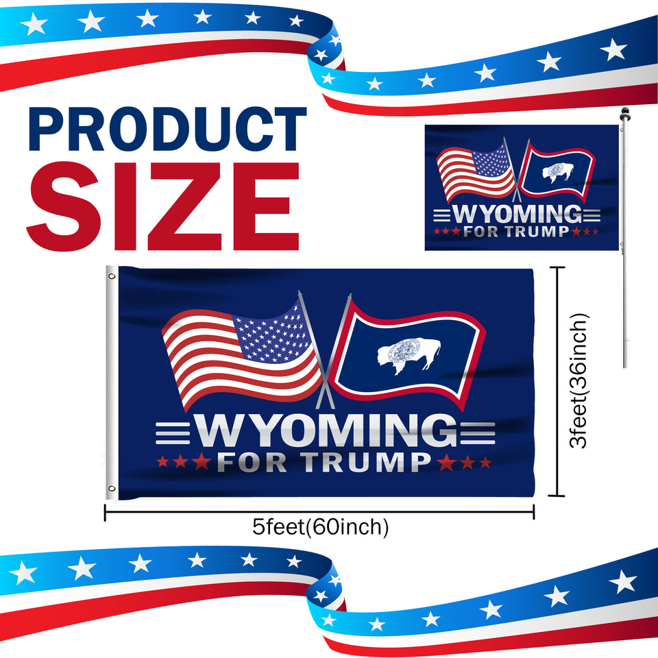 Wyoming For Trump 3 x 5 Flag - Limited Edition Dual Flags Lowest Price Ever!