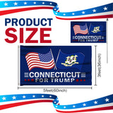 Connecticut For Trump 3 x 5 Flag - Limited Edition Dual Flags