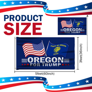 Oregon For Trump 3 x 5 Flag - Limited Edition Dual Flags Lowest Price Ever!