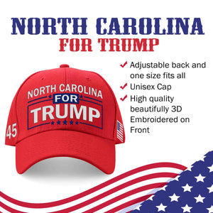 North Carolina For Trump Limited Edition Embroidered Hat Sale