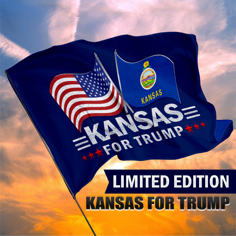 Kansas For Trump 3 x 5 Flag - Limited Edition Dual Flags Lowest Price Ever!