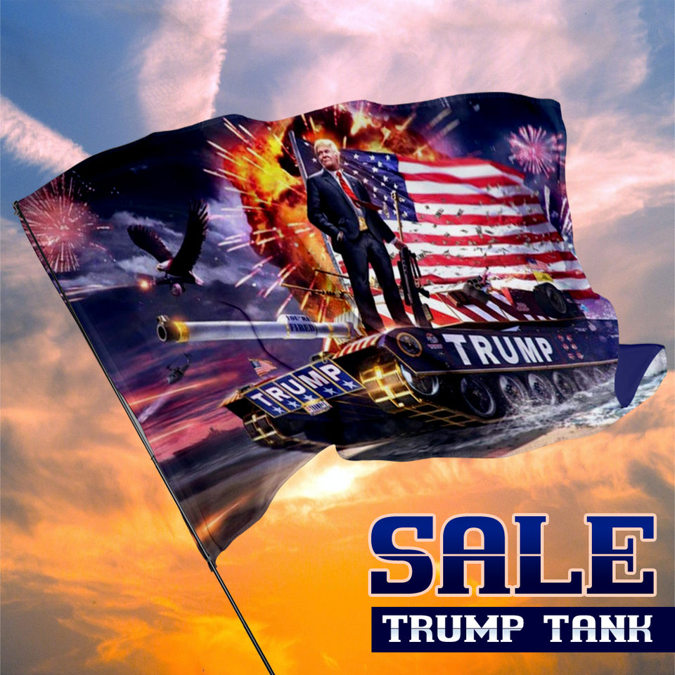 Trump on a Tank Keep America Great 3 x 5 Flag Sale