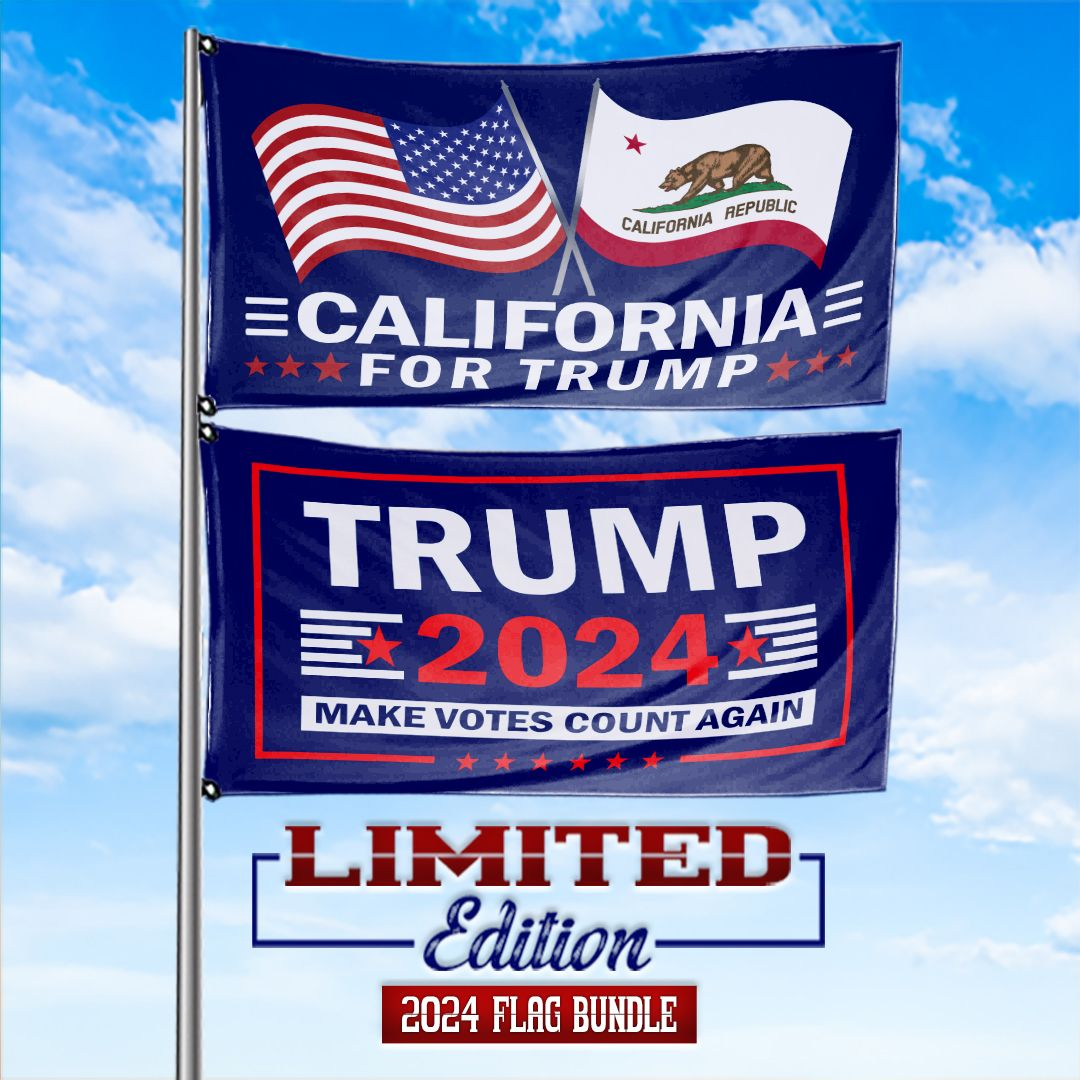 Trump 2024 Make Votes Count Again & California For Trump 3 x 5 Flag Bundle
