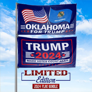 Trump 2024 Make Votes Count Again & Oklahoma For Trump 3 x 5 Flag Bundle