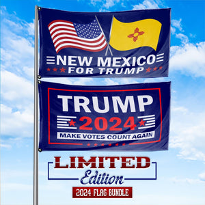 Trump 2024 Make Votes Count Again & New Mexico For Trump 3 x 5 Flag Bundle