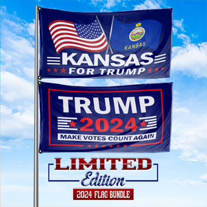 Trump 2024 Make Votes Count Again & Kansas For Trump 3 x 5 Flag Bundle