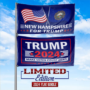 Trump 2024 Make Votes Count Again & New Hampshire For Trump 3 x 5 Flag Bundle
