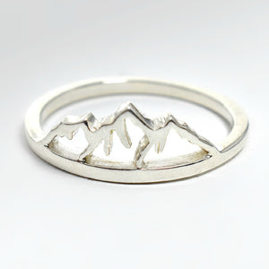 Sterling silver mountain range ring.