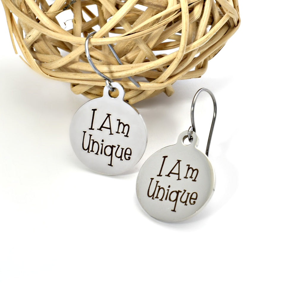 Stainless steel earrings for women with a positive message.