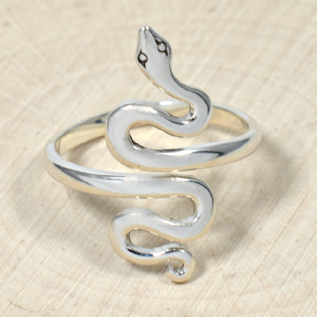 Sterling Silver Adjustable Snake Ring -- EF0011