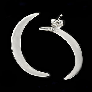 Sterling Silver Crescent Moon Post Earrings -- EF0001