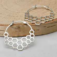 Load image into Gallery viewer, Sterling Silver Honeycomb Hoop Earrings -- EF0002