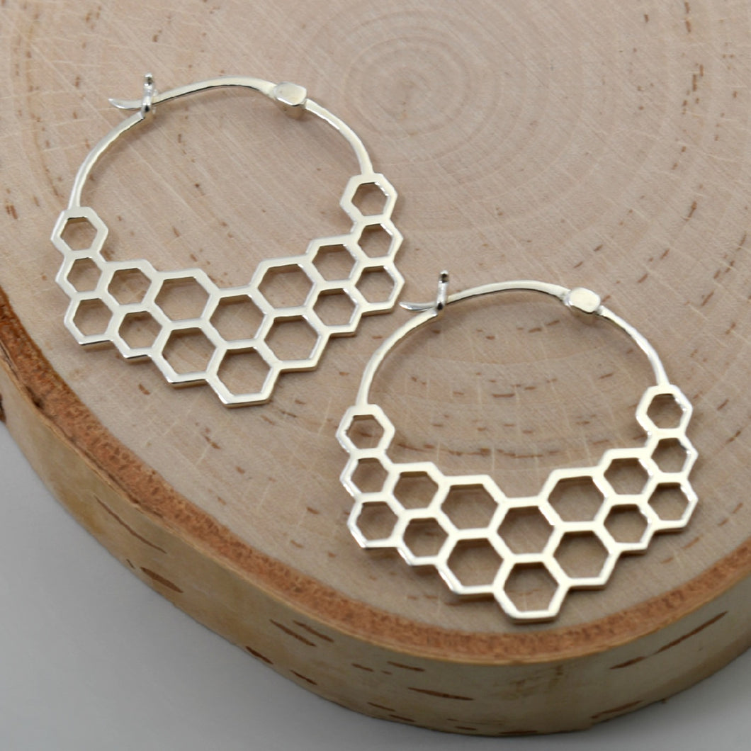 Sterling Silver Honeycomb Hoop Earrings -- EF0002