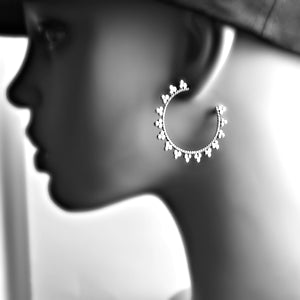 Sterling Silver Fancy Hoop Earrings -- EF0003