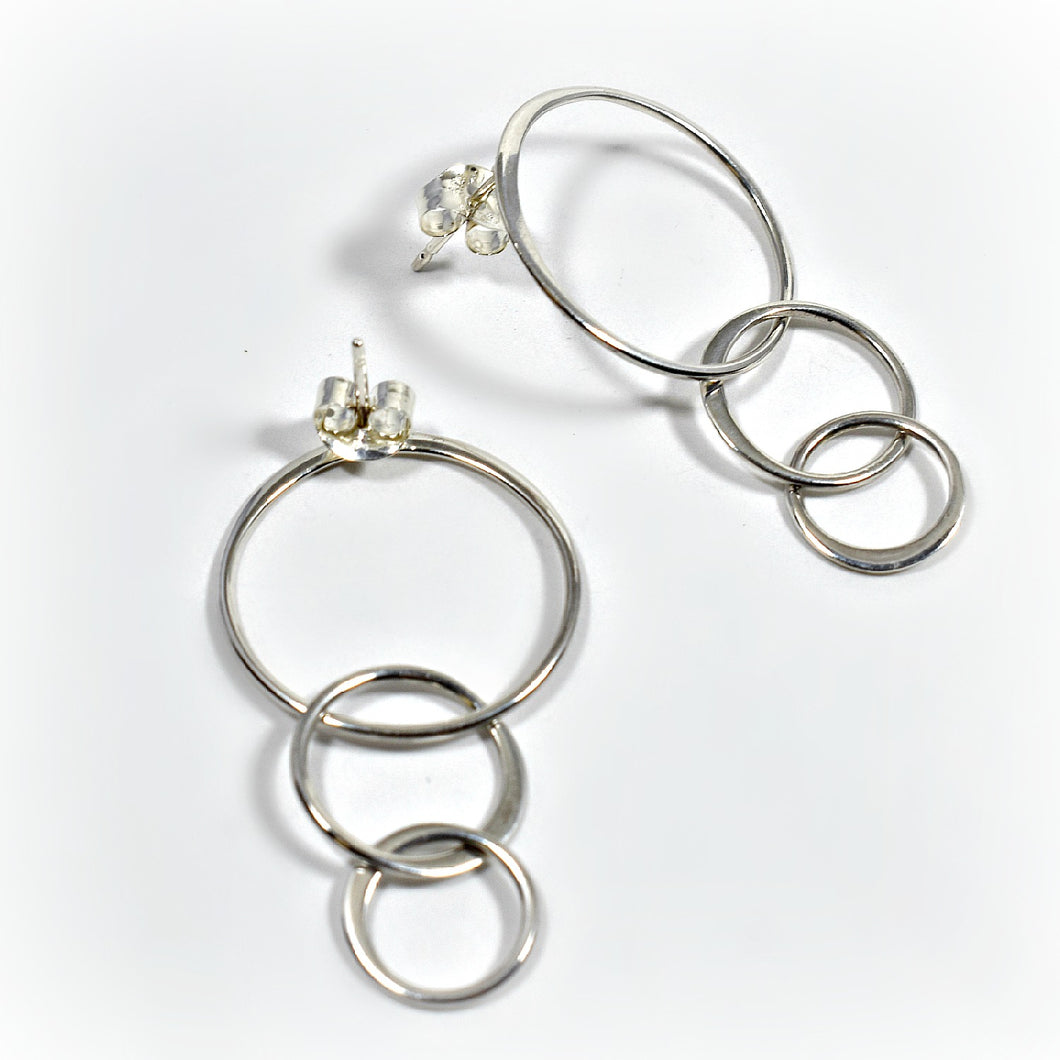 Sterling Silver Triple Circle Post Earrings -- EF0006