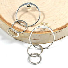 Load image into Gallery viewer, Sterling Silver Triple Circle Post Earrings -- EF0006