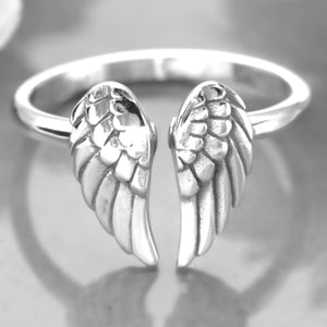 Sterling Silver Adjustable Angel Wings Ring -- EF0013