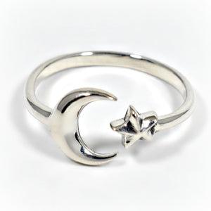Sterling Silver Adjustable Moon and Star Ring -- EF0016