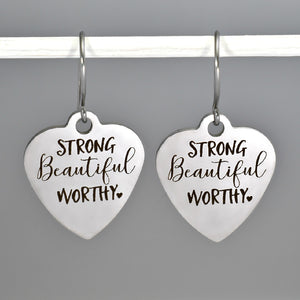 "Stainless Steel ""Strong Beautiful Worthy"" Earrings -- EF0017"