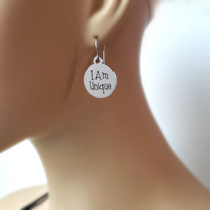 "Stainless Steel ""I Am Unique"" Earrings -- EF0025"