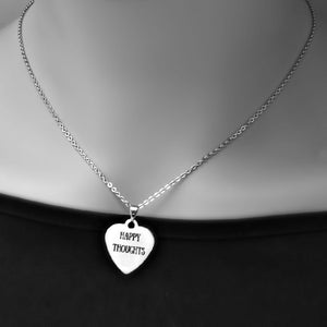 "Stainless Steel ""Happy Thoughts"" Necklace -- EF0042"