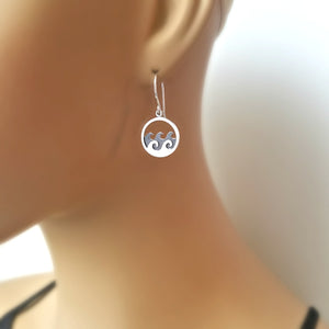 Sterling Silver Ocean Waves Charm -- EF0051