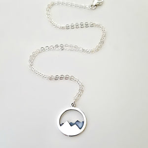 Sterling Silver Oxidized Mountain Charm -- EF0053