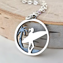 Load image into Gallery viewer, Sterling Silver Surfer Girl Charm -- EF0057