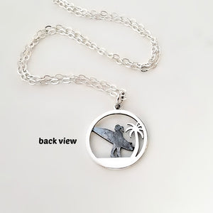 Sterling Silver Surfer Girl and Palm Tree Charm Necklace -- EF0056