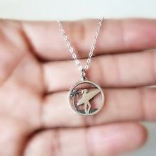 Load image into Gallery viewer, Sterling Silver Surfer Girl and Palm Tree Charm Necklace -- EF0056