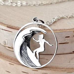 Sterling Silver Surfer Girl Charm Necklace -- EF0057