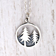 Load image into Gallery viewer, Sterling Silver Pine Tree and Mountain Charm -- EF0059