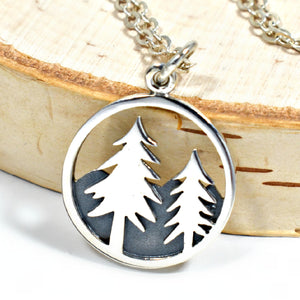 Sterling Silver Pine Tree and Mountain Charm -- EF0059