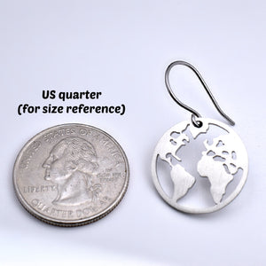 Stainless Steel Cut Out Earth Earrings -- EF0061