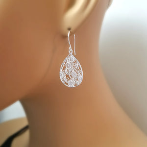 Sterling Silver Cut-Out Teardrop Flower Earrings -- EF0063